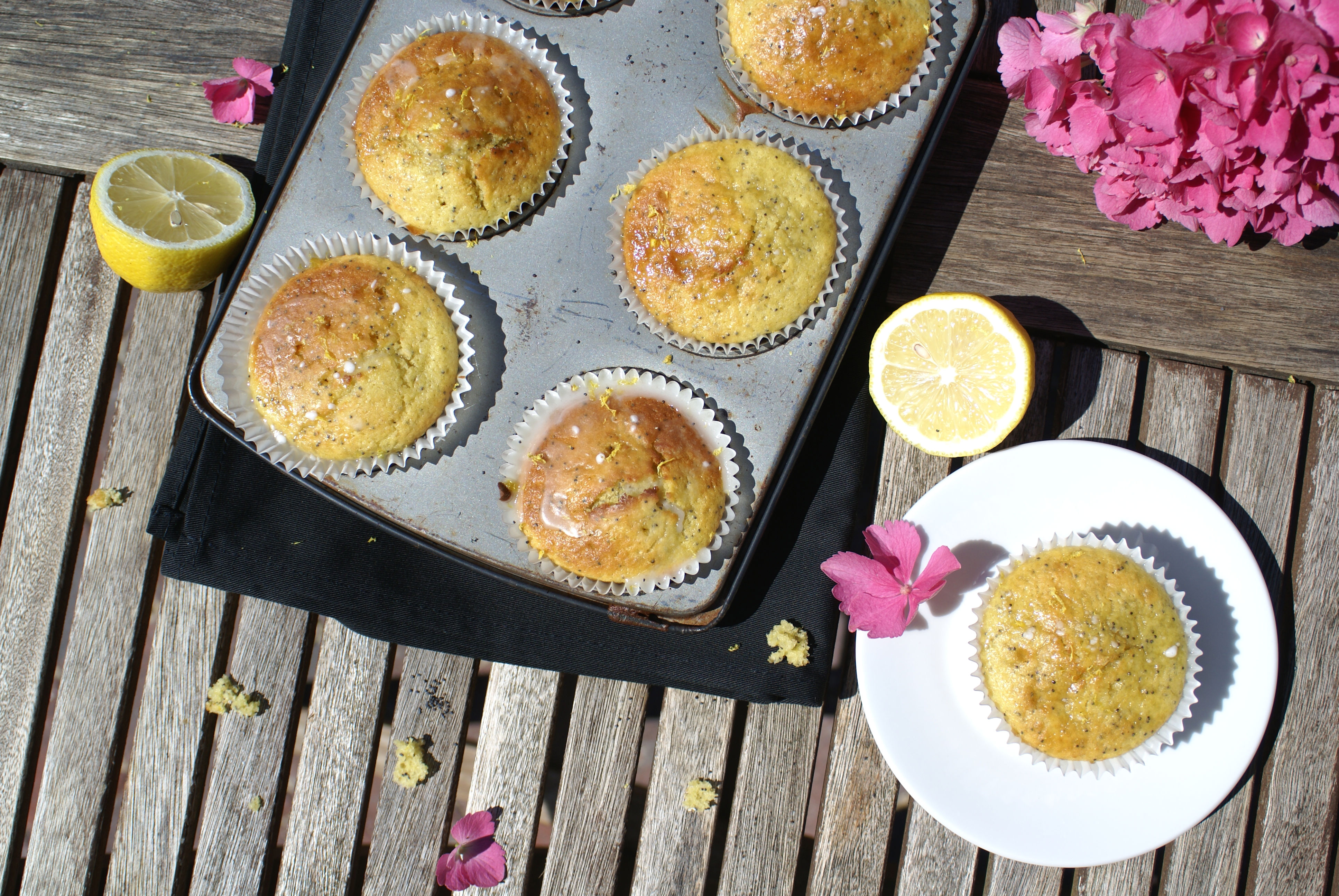 lemon muffins in tin