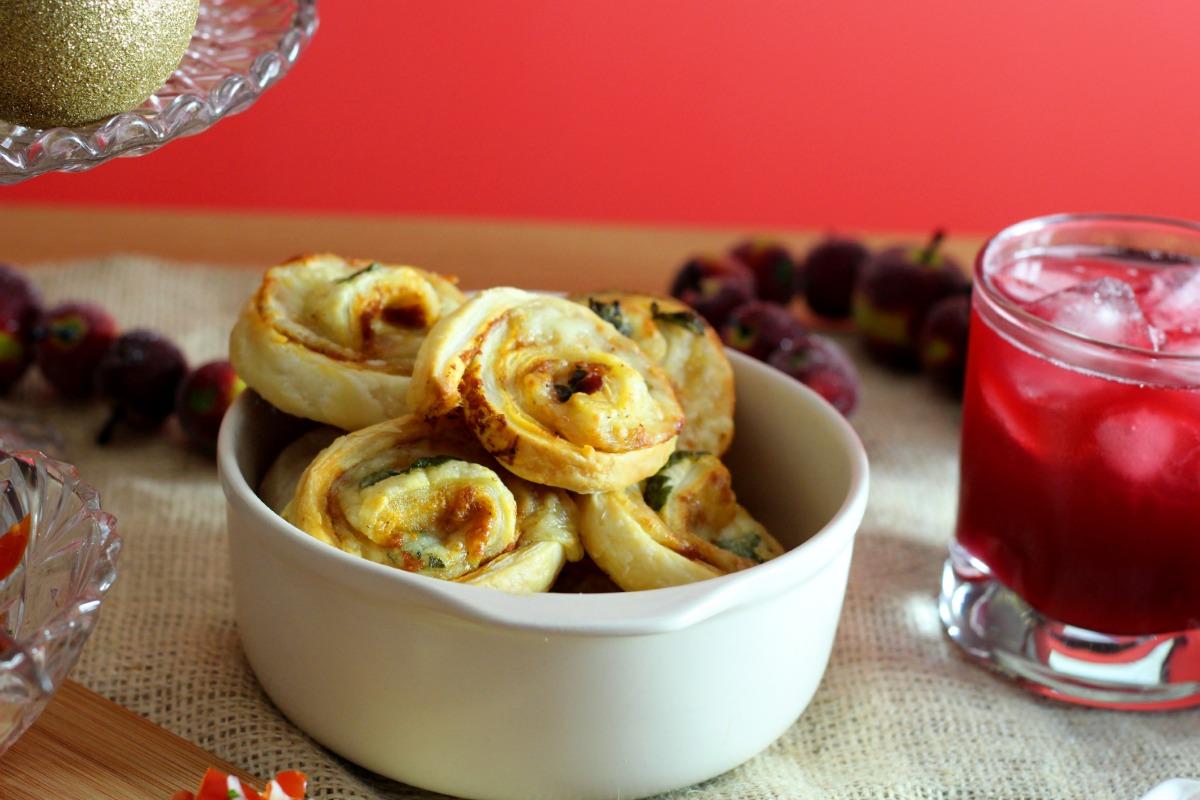 caprese puff pastry spirals